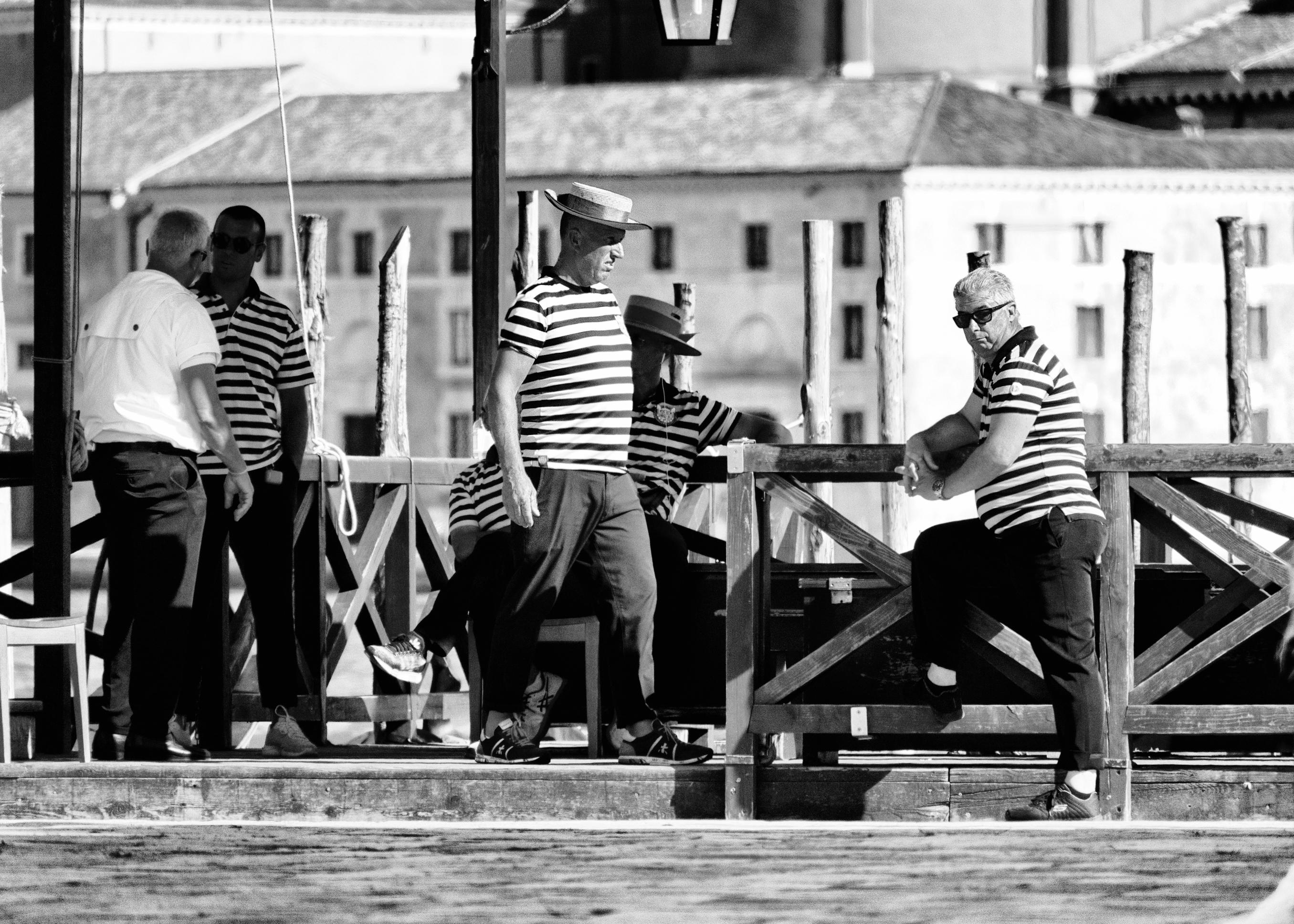 Venice street photography Gondoliers at work Aleksandra Rowicka
