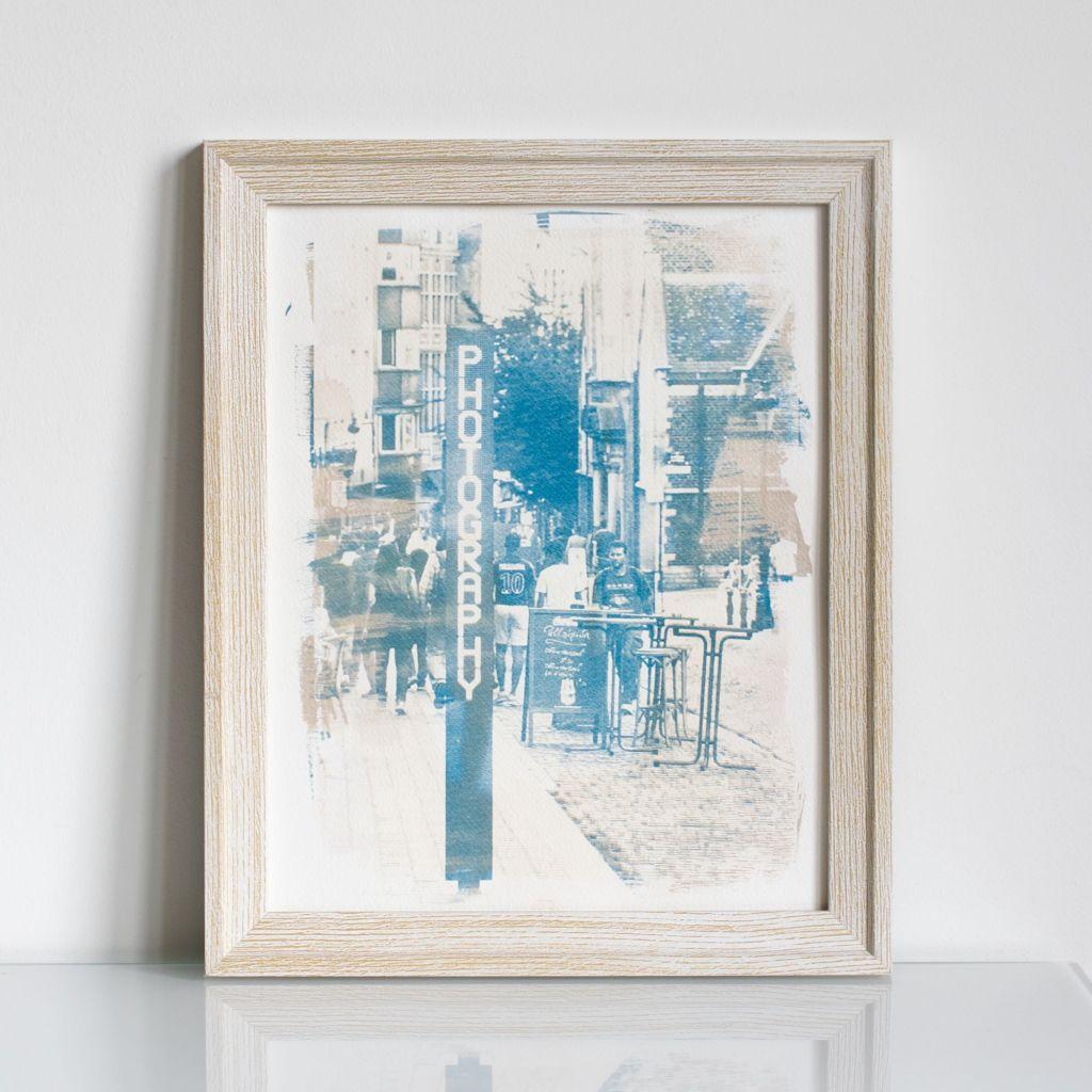 "bi-color cyanotype made of Aleksandra Rowicka's photography ""Street"""