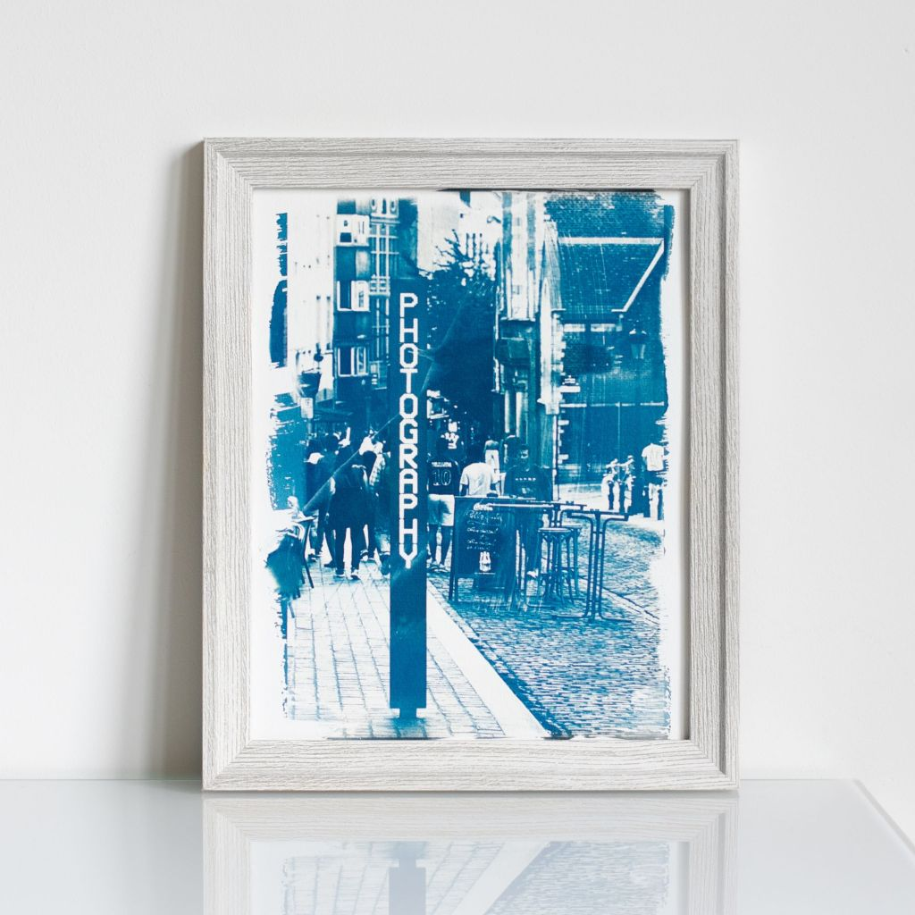 """Street"" cyanotype made from Aleksandra Rowicka's photo titled ""Street"" made in Brussels in 2019"