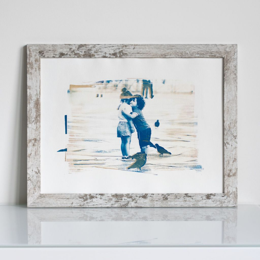 """Cyanotype of Aleksandra Rowicka's photo """"Finding True Love"""" made in Venice at Piazza San Marco in July 2020"""