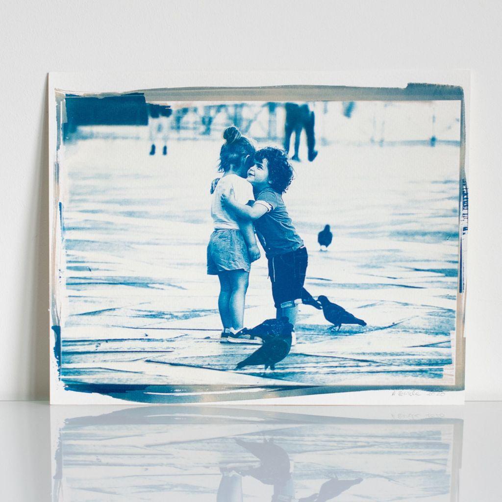 """""""Finding True Love"""" cyanotype, based on Aleksandra Rowicka's photo made in Venice in July 2020"""